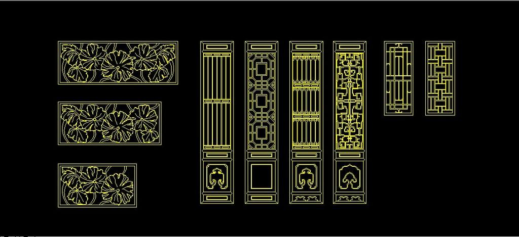 古典门窗cad图纸模板下载