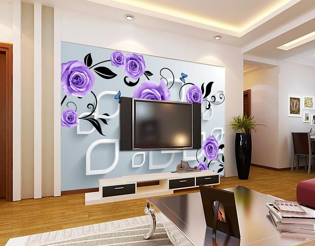 3d紫玫瑰电视客厅背景墙