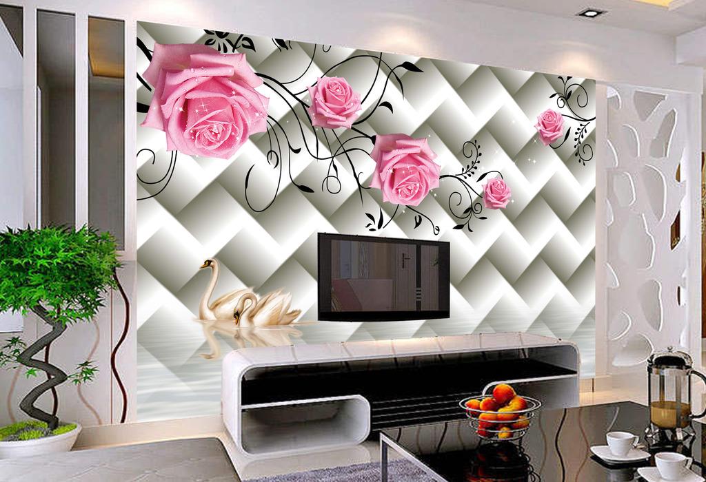 3d立体方框玫瑰天鹅壁纸墙纸背景墙