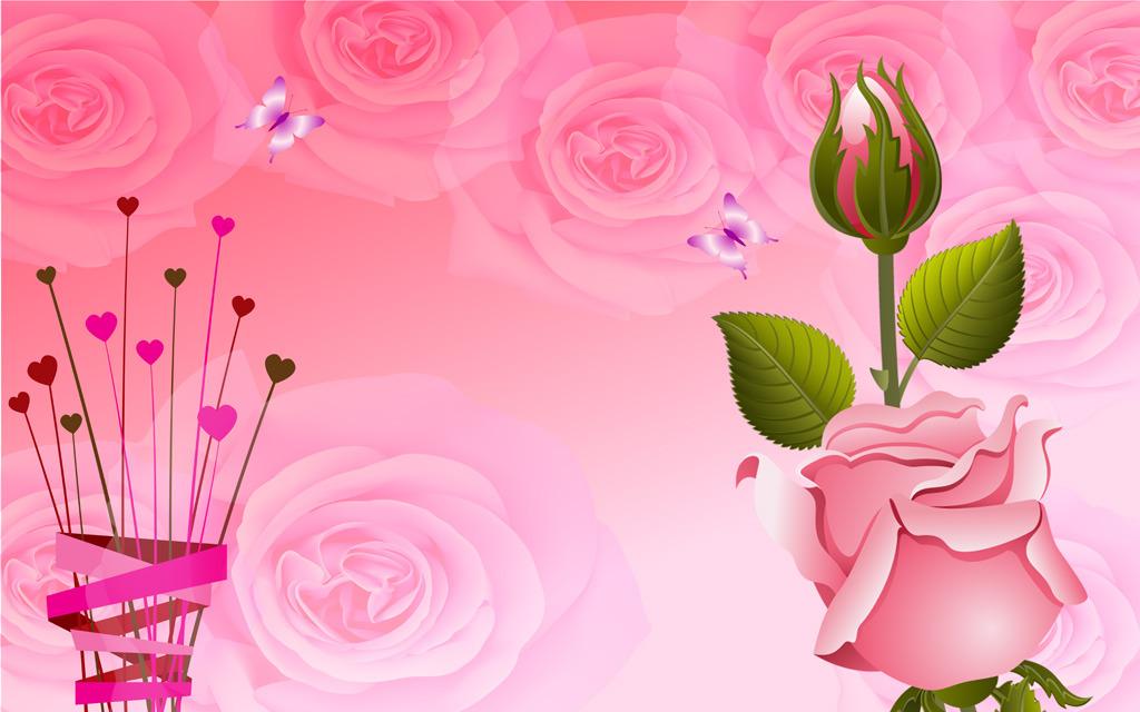 红玫瑰花心形温馨爱情客厅电视背景墙模板下载(图片:)图片