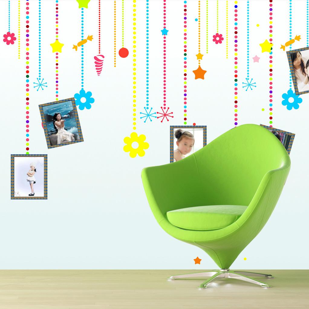 手绘儿童相框背景墙psd素材模板下载(图片编号:)