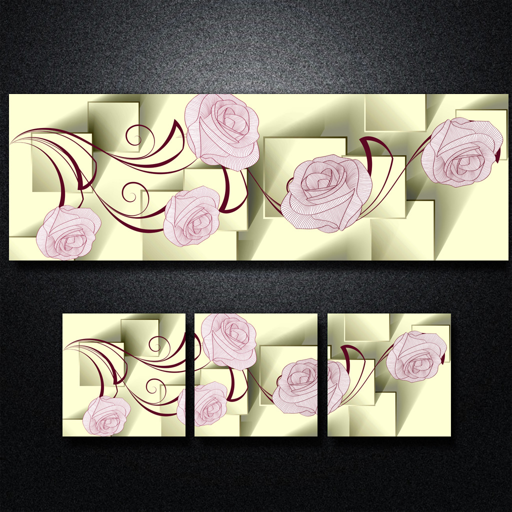 3d立体方块手绘花朵无框画