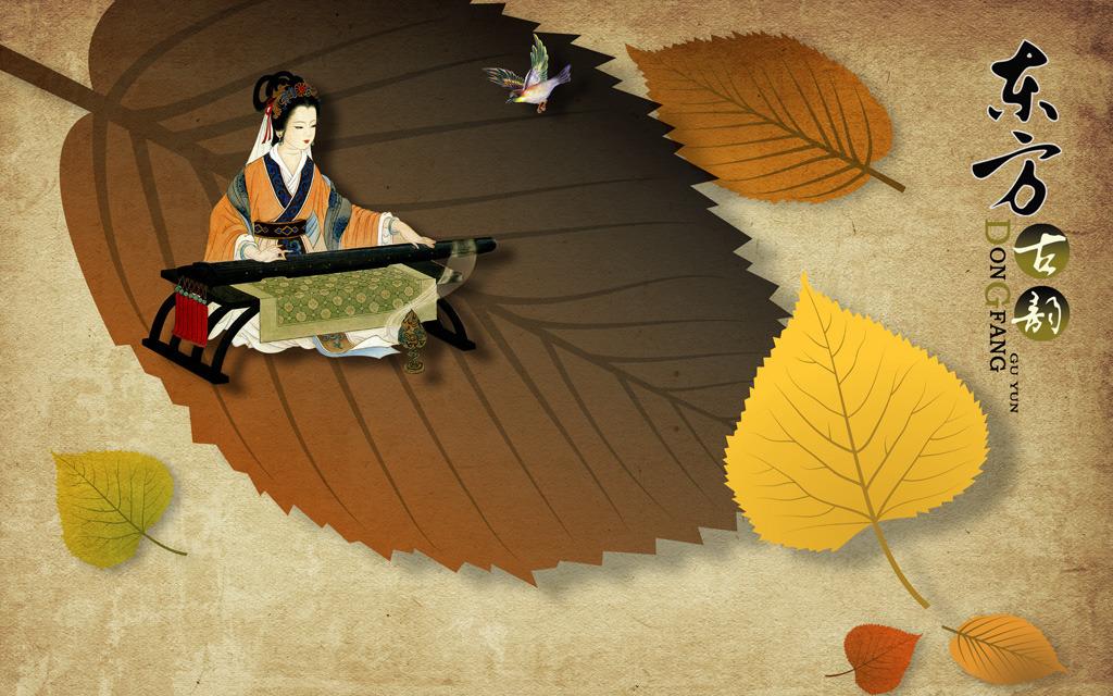 大树叶秋天古代美女弹琴仕女图古典背景墙