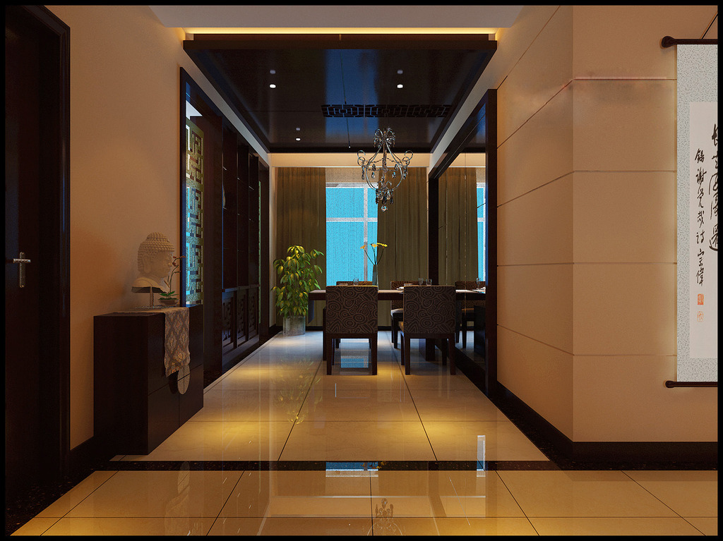 中式室内沙发背景墙3d模型模板下载(图片编号:)