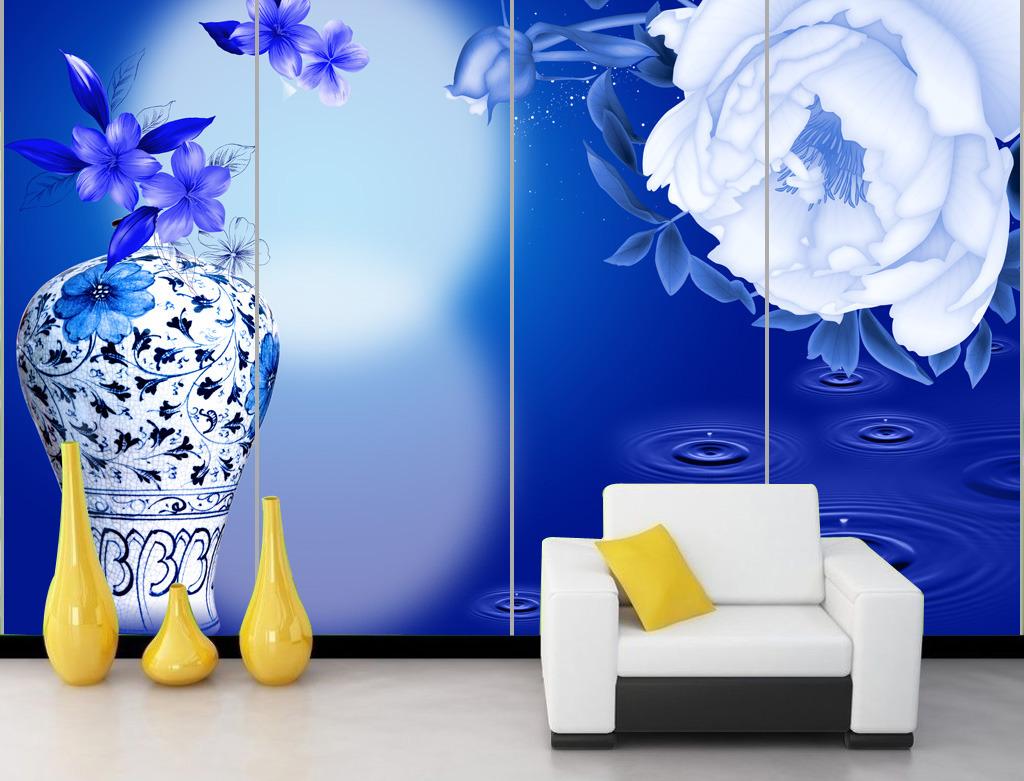 蓝色背景青花瓷瓶牡丹画客厅电视背景墙模板下载(图片