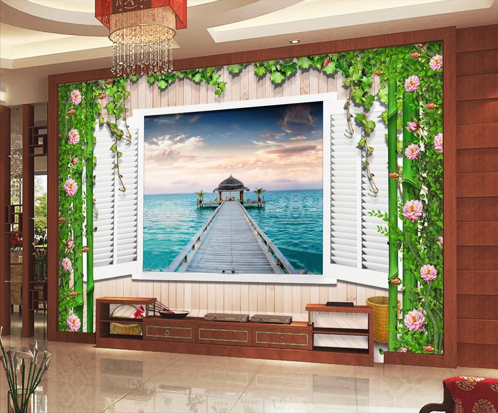 粉红玫瑰花朵木墙窗子大海竹子电视背景墙