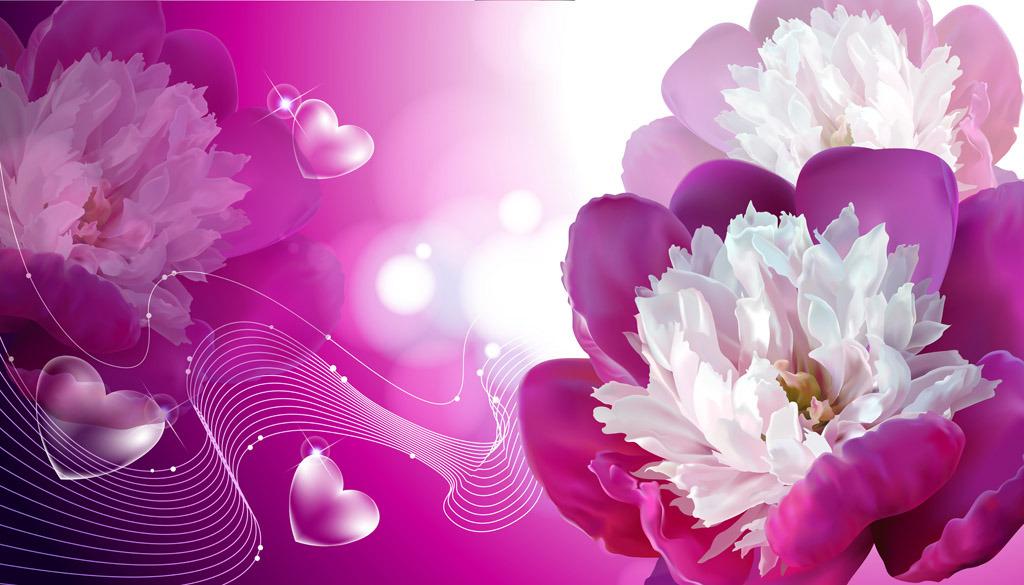 爱的绽放玫瑰花梦幻花朵花卉电视沙发背景墙