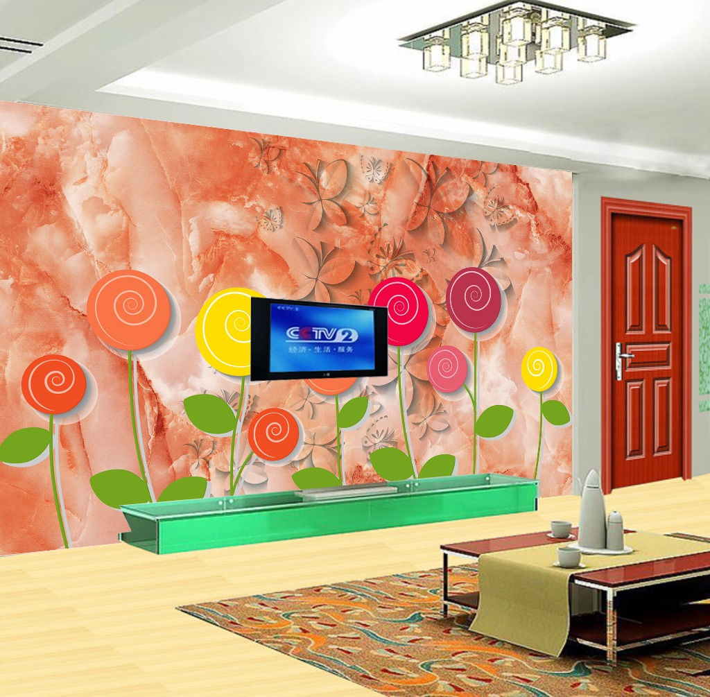 背景墙 装饰画/3D立体瓷砖花纹彩雕梦幻糖背景墙装饰画