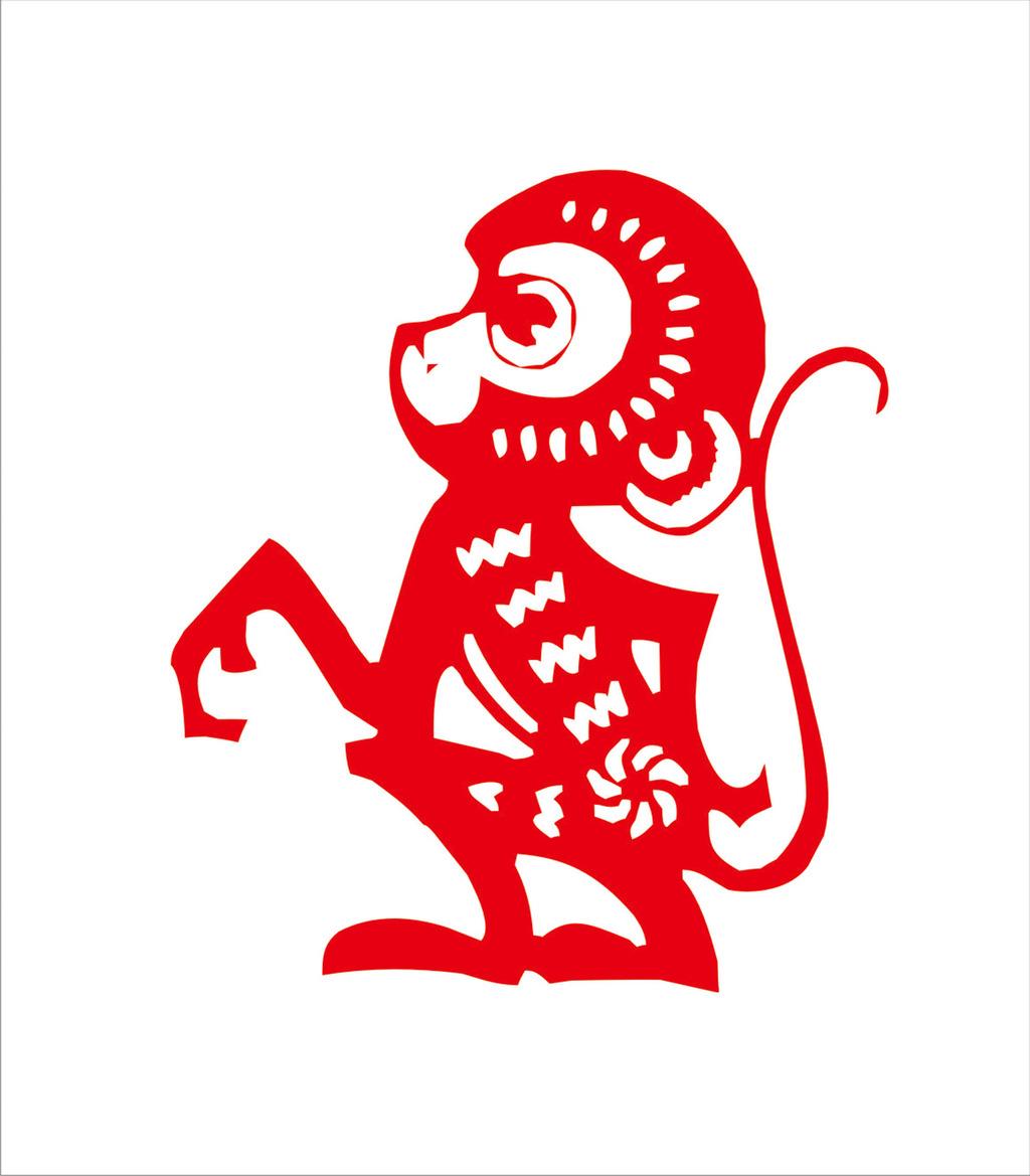 12生肖剪纸之猴生肖矢量图模板下载(图片编号