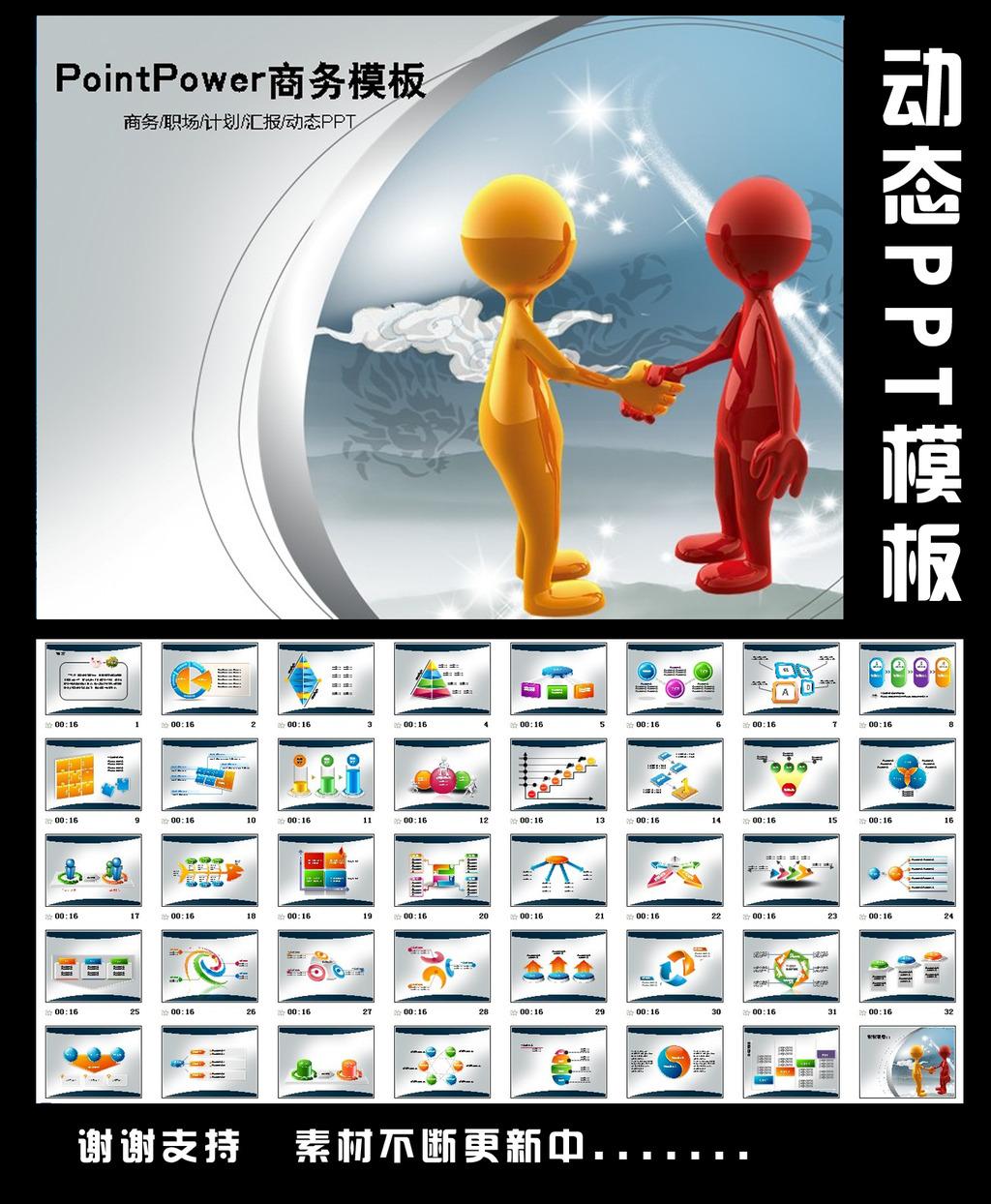 3d小人握手合作商务动态ppt模板下载