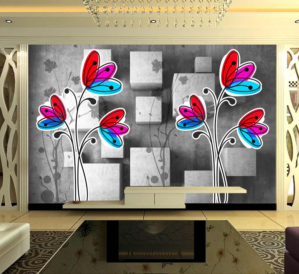 3d立体凸出方块手绘蝴蝶花背景墙装饰画