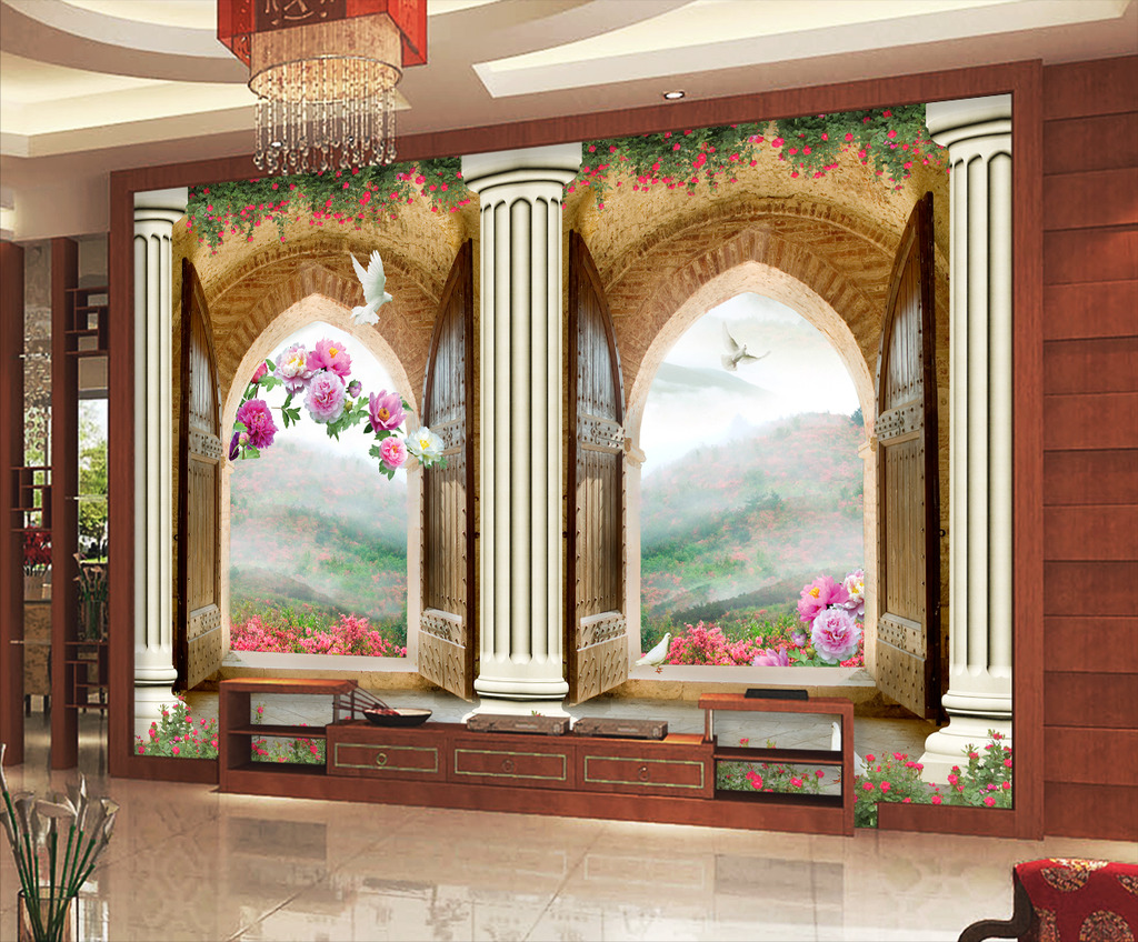 欧式3d门窗立体牡丹罗马柱电视背景墙