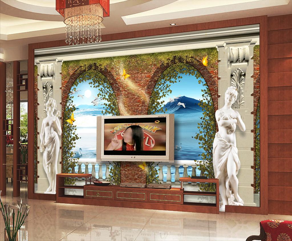 欧式3d门窗立体雕塑罗马柱电视背景墙