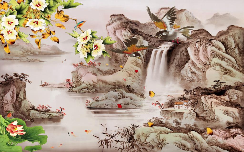 山水花鸟画中式家居背景