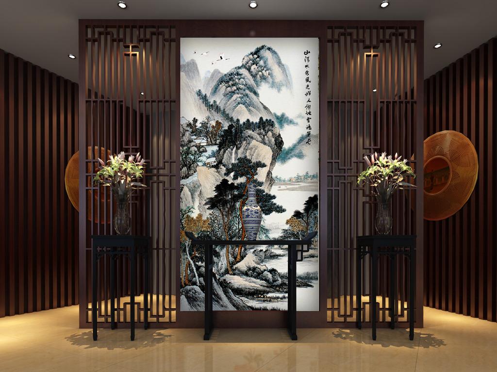 中式水墨山水玄关背景墙