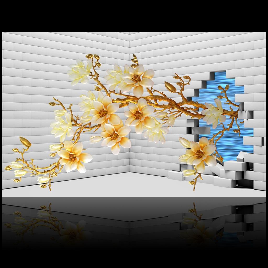 3d立体砖墙彩雕玉兰花出墙背景墙装饰画