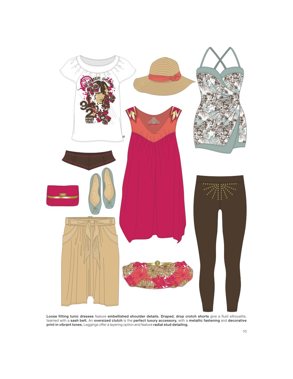 矢量服装手绘效果图 服装款式手稿 流行t恤 时尚潮流 创意图案 电脑
