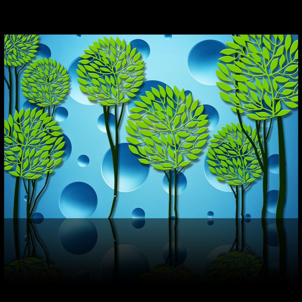 3d立体凹墙手绘抽象树背景墙装饰画