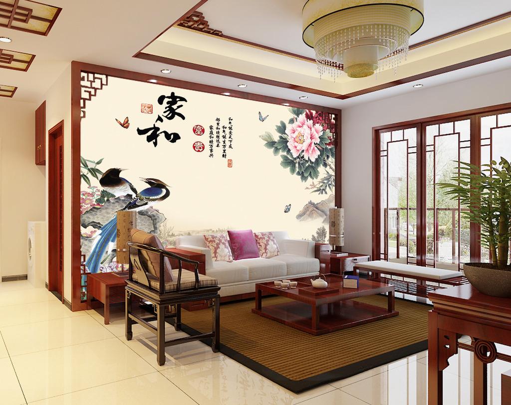 富贵长春 瓷砖壁画 背景墙 电视墙 形象墙 古典风格 中国风 简约 家和