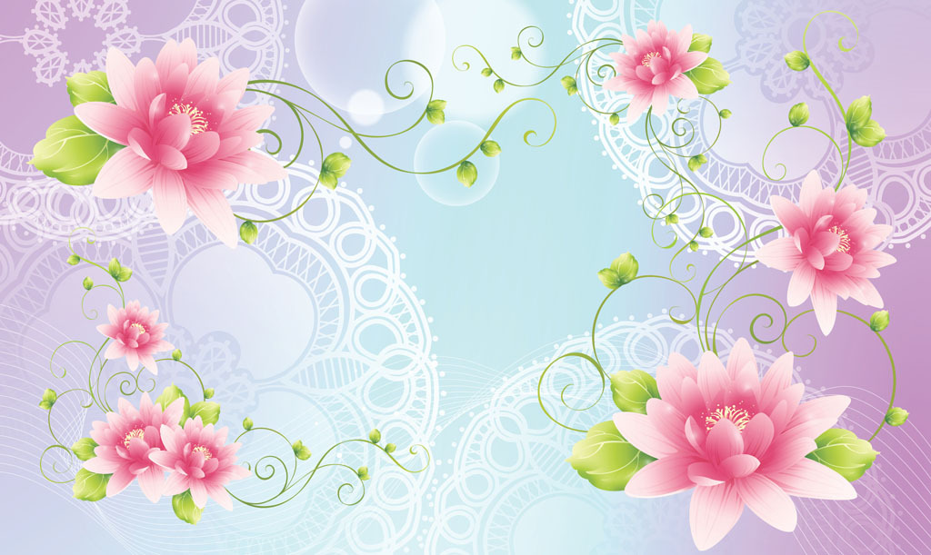 莲花/梦幻花朵花卉莲花百合花电视沙发客厅背景墙模板下载