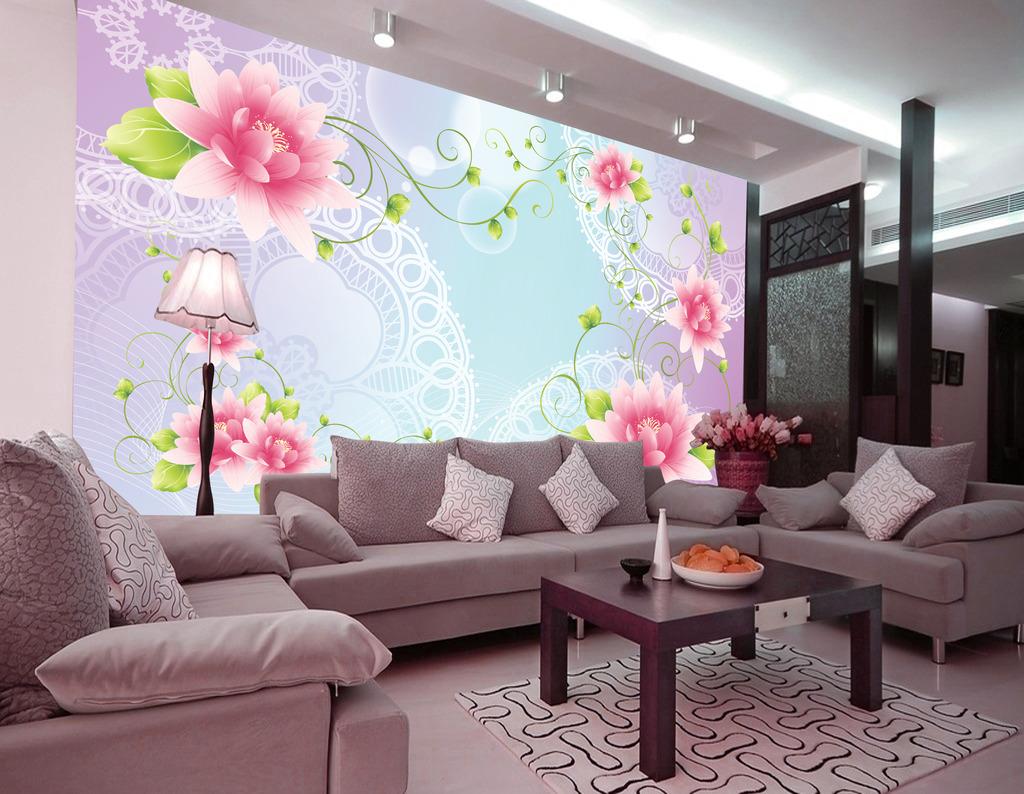 莲花/梦幻花朵花卉莲花百合花电视沙发客厅背景墙