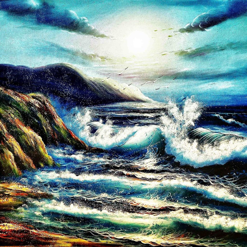 手绘油画风景装饰画模板下载(图片编号:11898113)