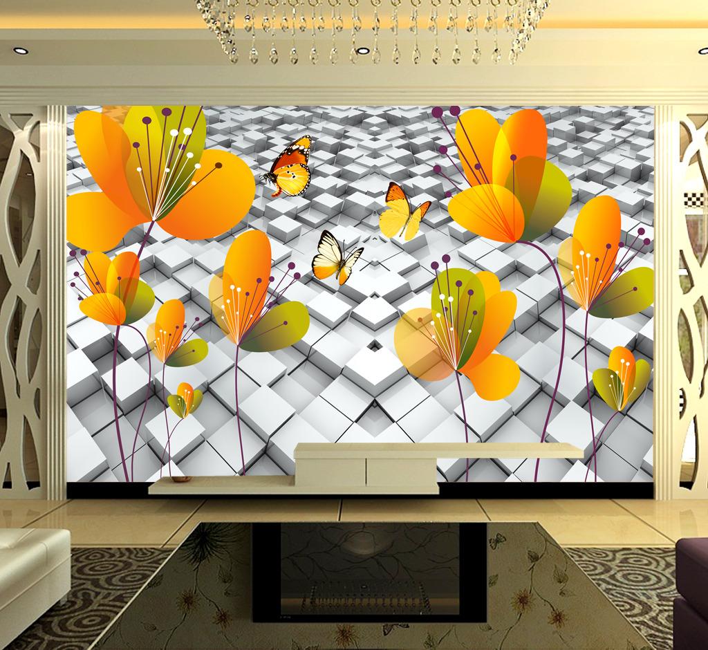 背景墙 装饰画/3D立体方块蝴蝶花背景墙装饰画