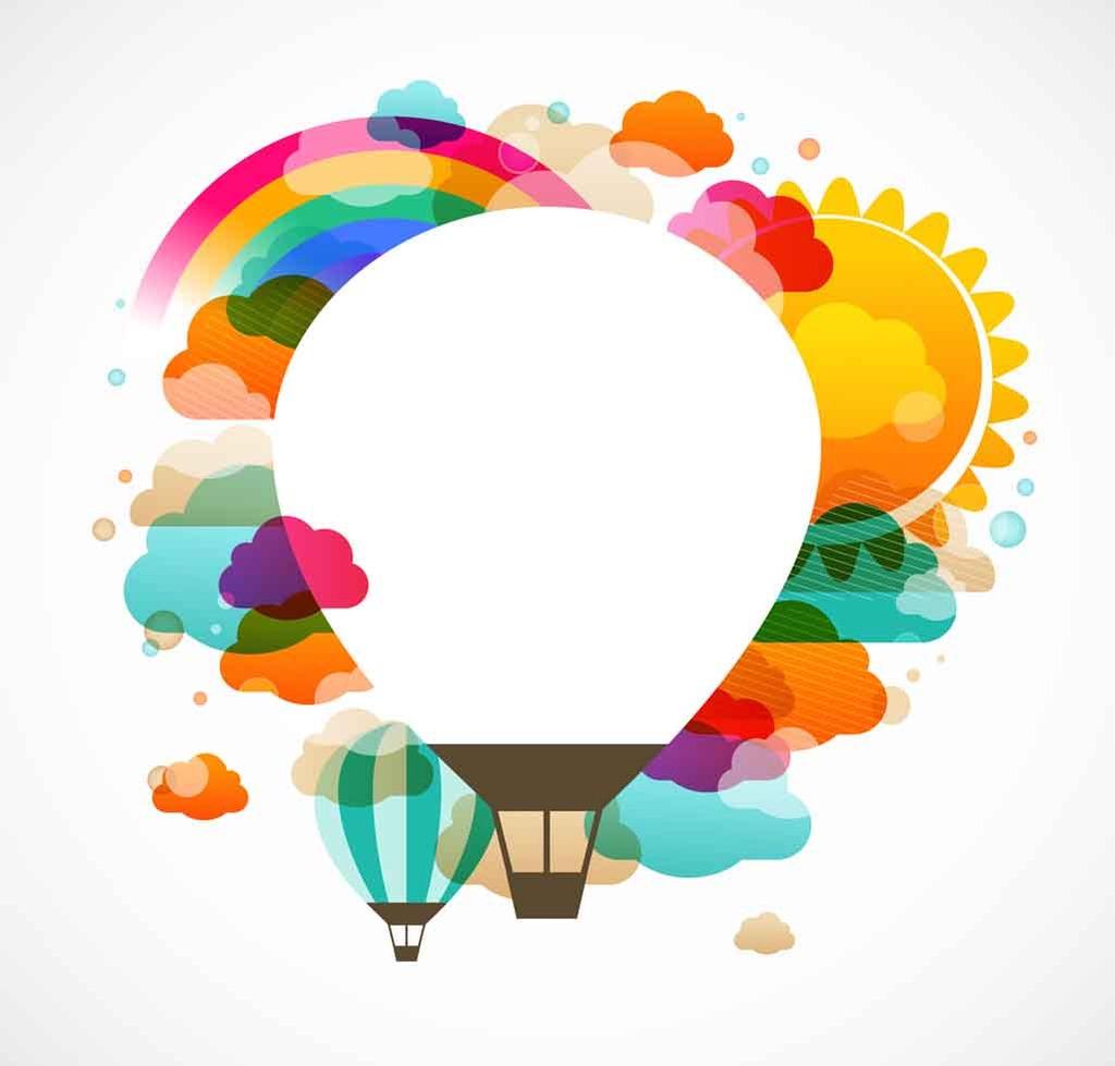 热气球云朵太阳卡通海报
