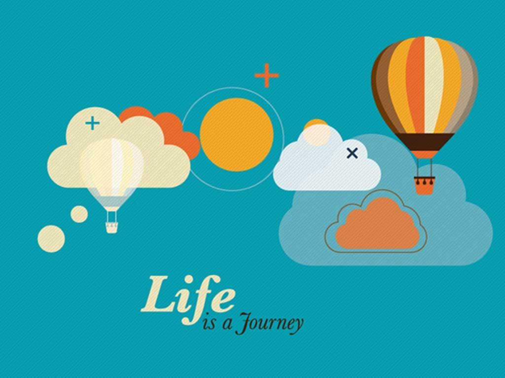 卡通云朵热气球太阳海报