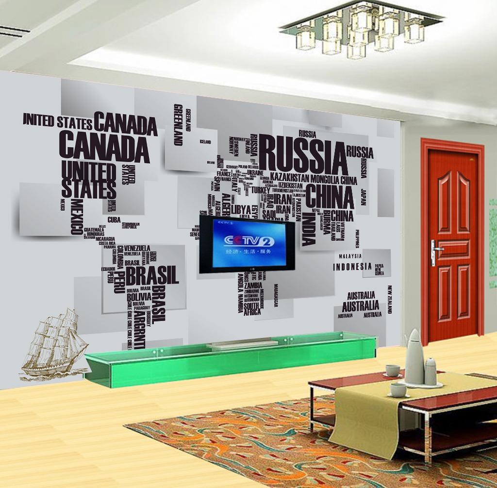 3d立体英文世界地图电视背景墙