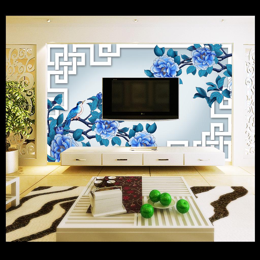 高清手绘蓝牡丹中国风电视背景墙装饰画