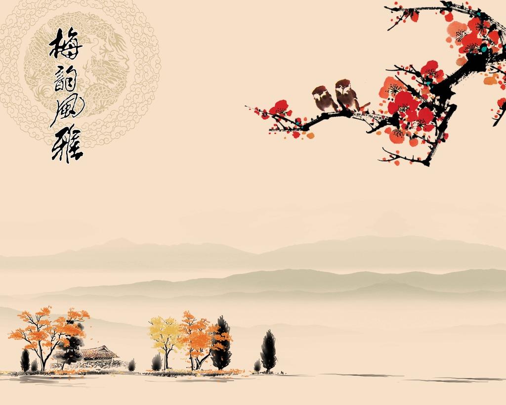 中国风梅韵风雅背景墙装饰画