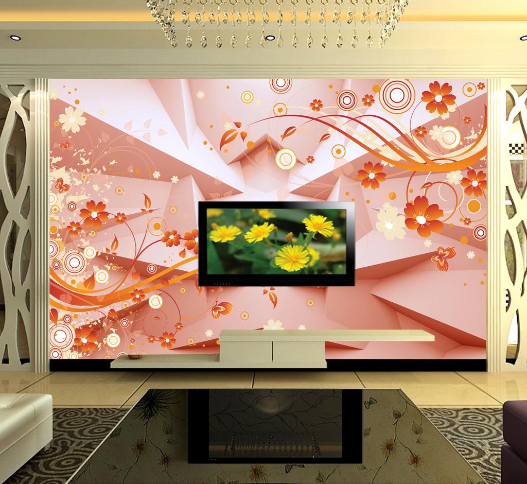 3d立体墙雅致小花电视背景墙