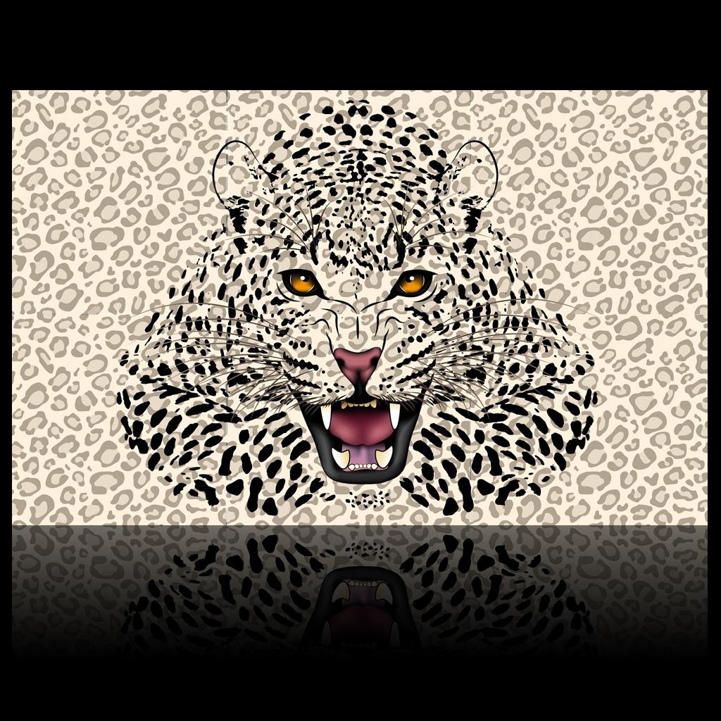 3d立体儿童房豹子出墙背景墙装饰画