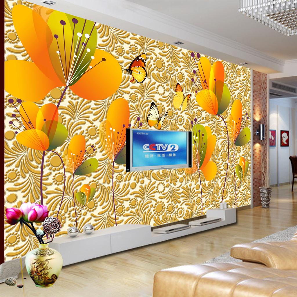 3d立体浮雕花纹蝴蝶花电视背景墙