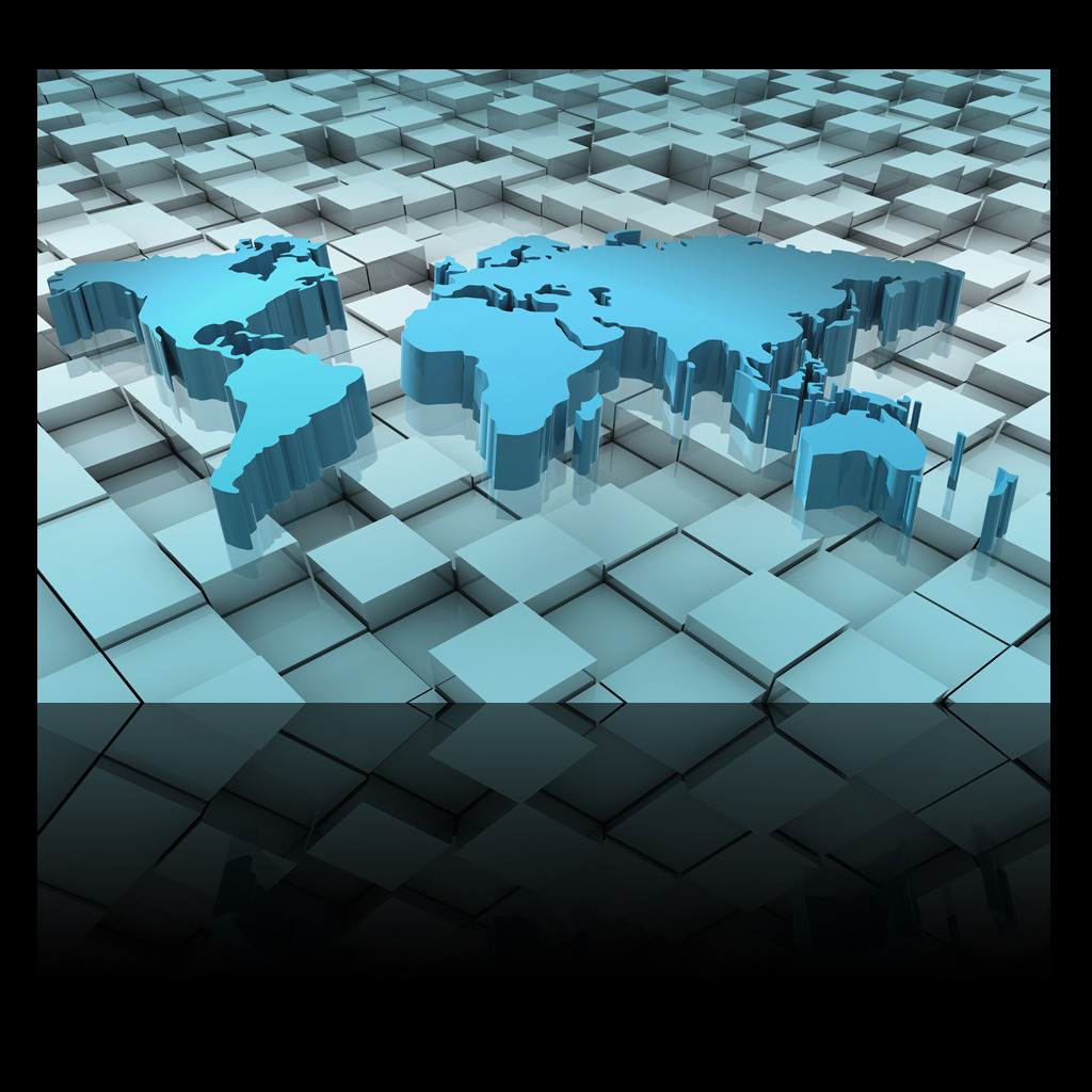 3d立体方块立体世界地图电视背景墙