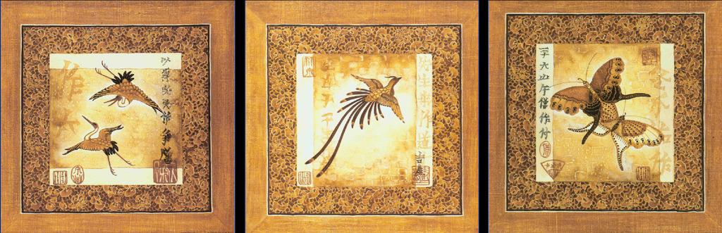 客厅三联日式风格仙鹤油画无框画