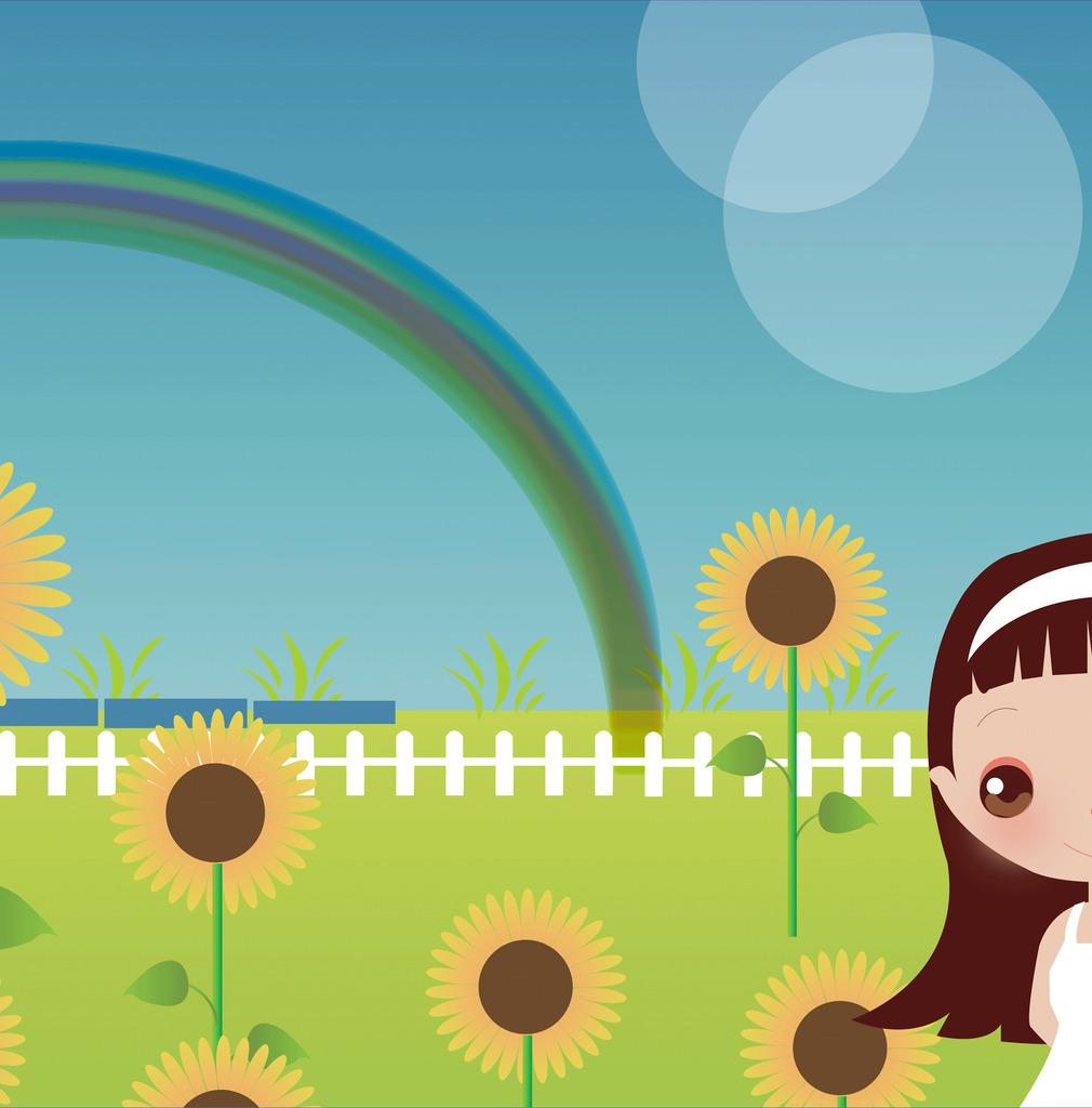 手绘女生彩虹向日葵psd素材背景墙