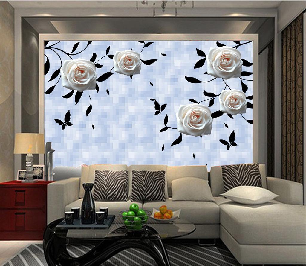 线条玫瑰花电视背景墙移门装饰画