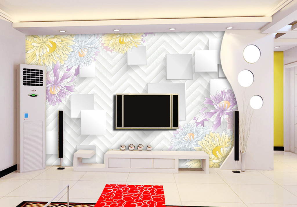 淡雅花朵3d立体电视背景墙装饰画