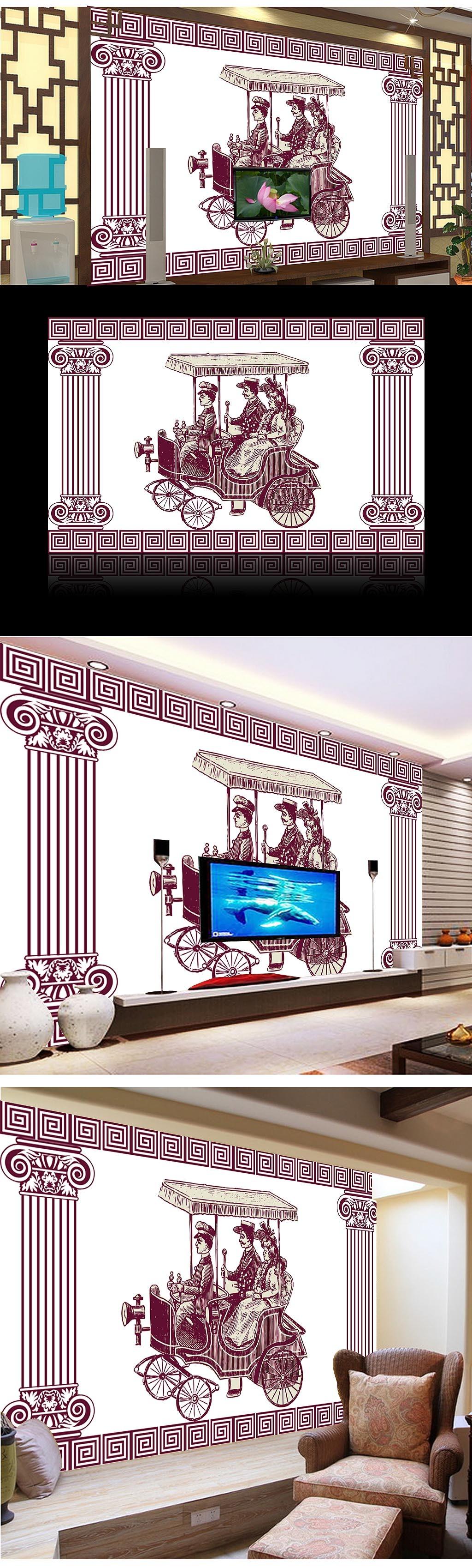 古典手绘电视背景墙