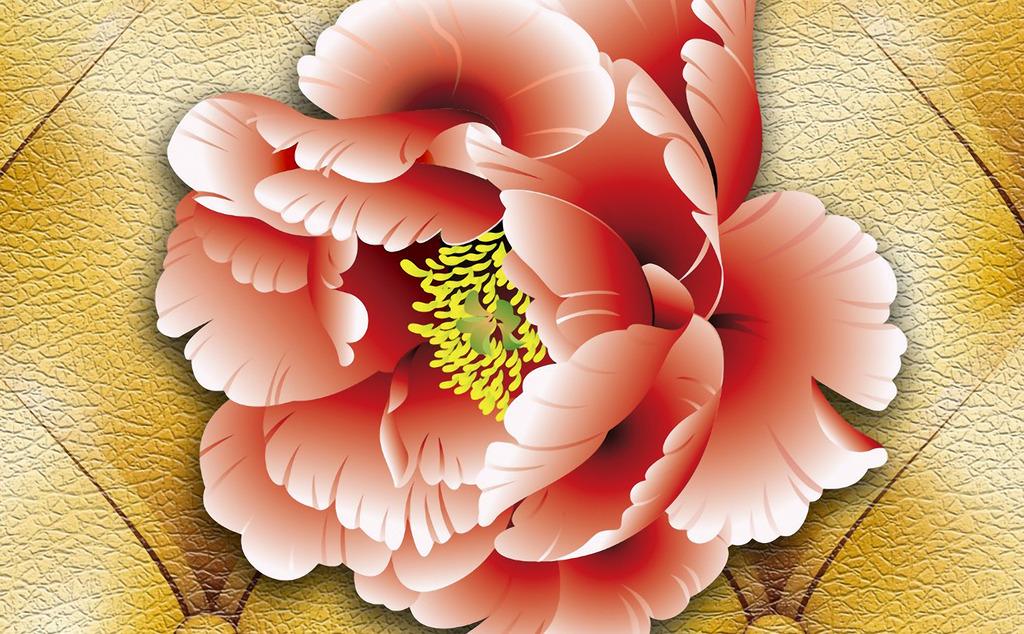 背景墙 花卉/欧式风格牡丹花卉立体皮革背景墙模板下载