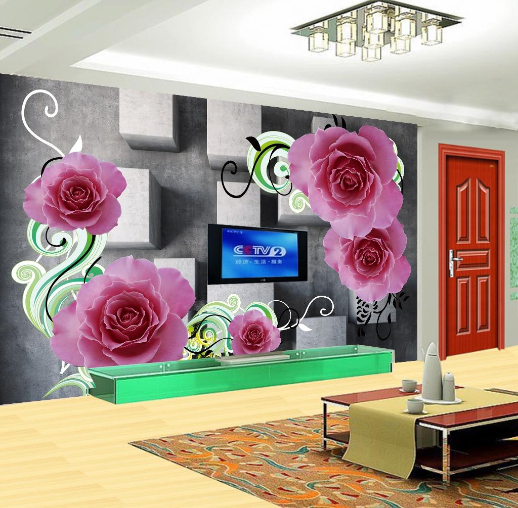 玫瑰花朵3d立体方块客厅电视背景墙装饰画
