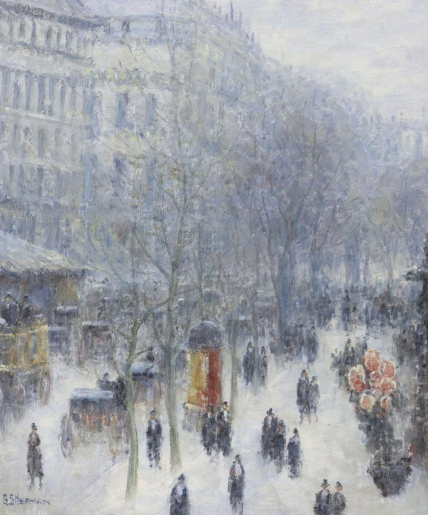 世界杰出传世名画之巴黎的林荫大道图片