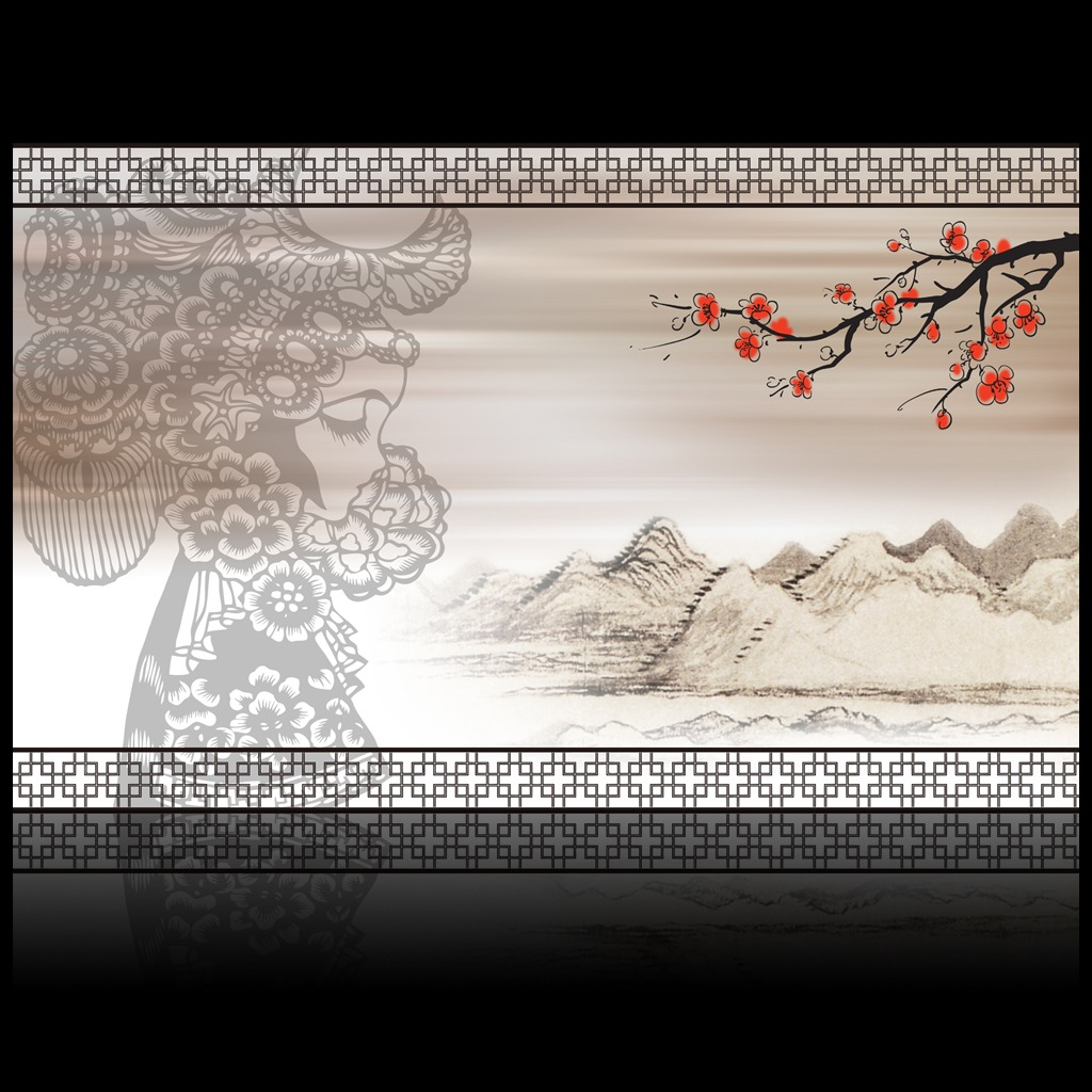 京剧艺术剪纸中式风格电视背景墙装饰画图片