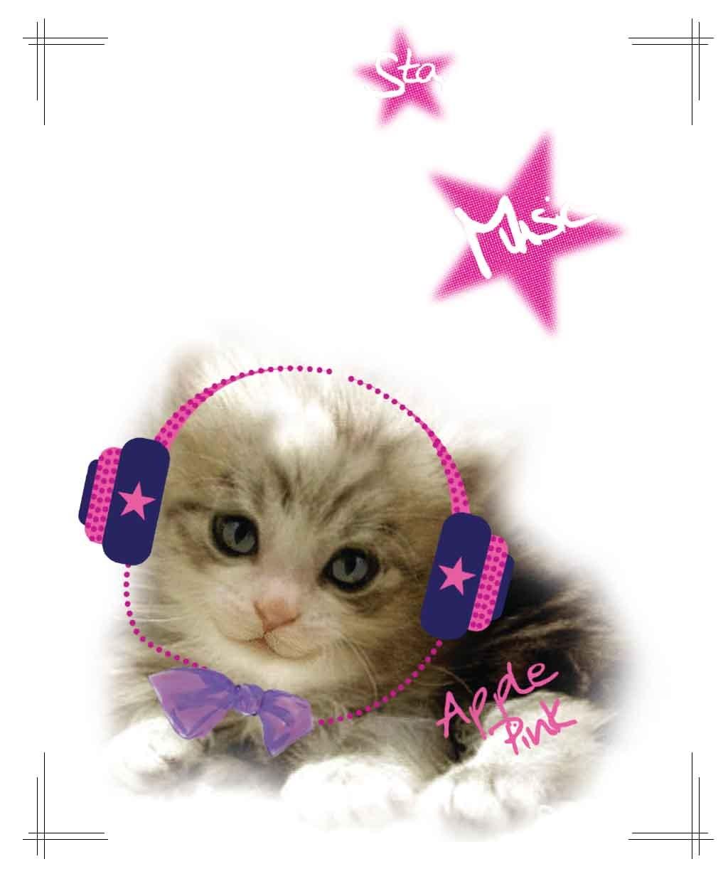 听音乐的超萌可爱小猫+粉色星星印花