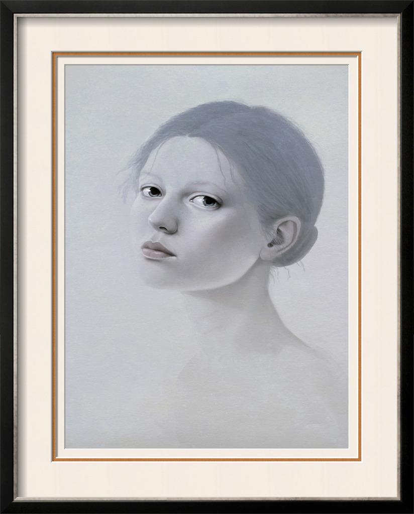 素描宁静美女人物油画