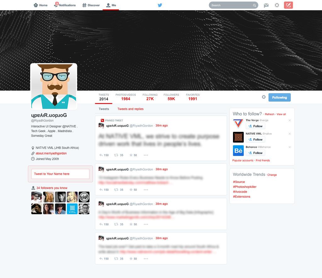 2014版本twitter界面设计psd