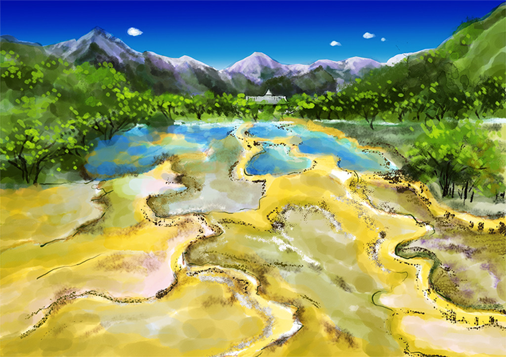 四川风景五彩池手绘插画