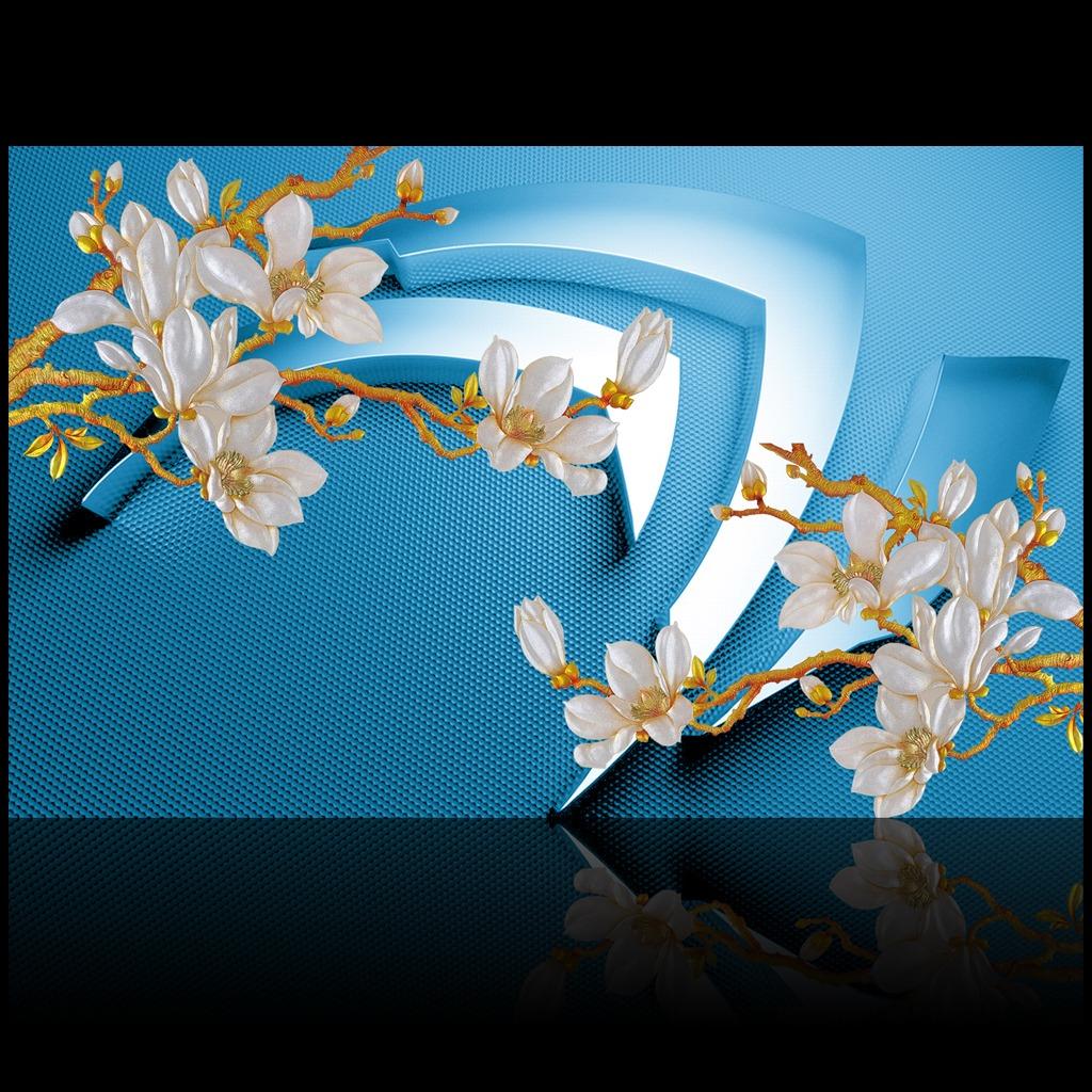 精美3d立体彩雕玉兰花背景墙装饰画